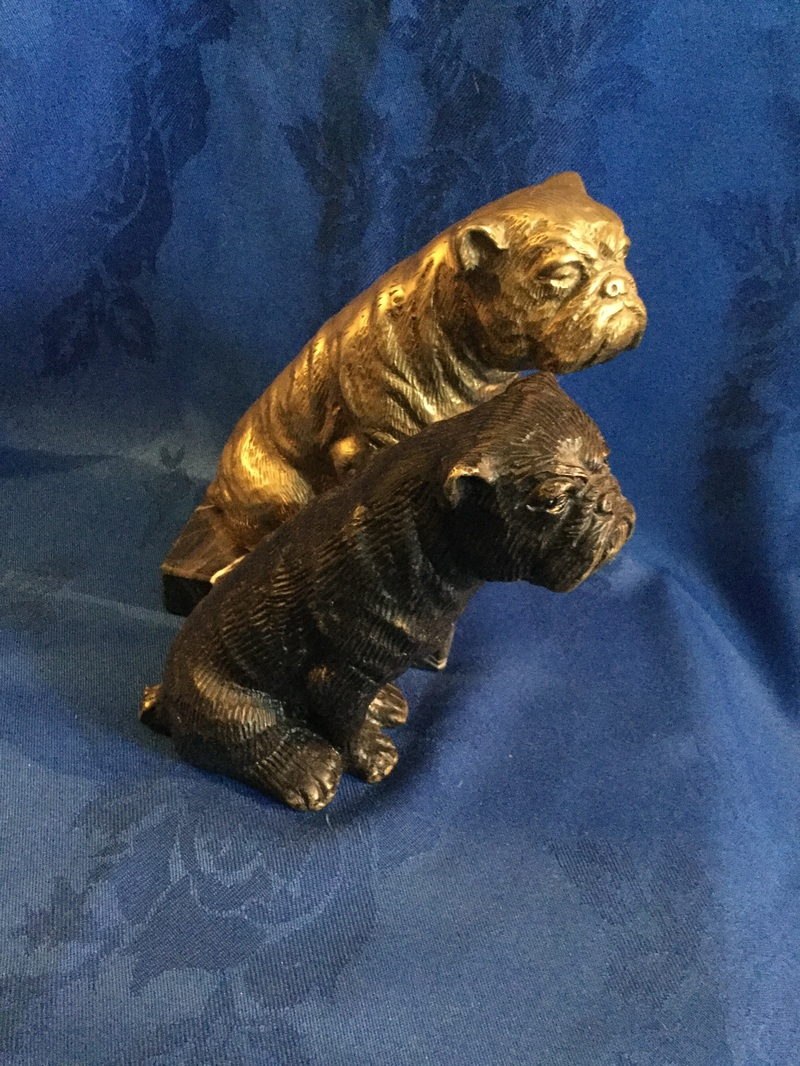 Bronze and brass tall seated bulldogs 3